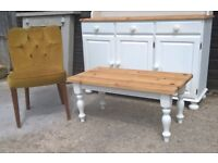 Farmhouse Solid Pine Coffee Table in Vintage white *Delivery Poss*