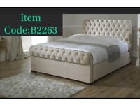 CREAM SLEIGH BED - PLUSH VELVET FRAME BED - CUBED BUTTON HEADBAORD AND STORAGE
