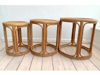3 x Wicker and bamboo coffee tables