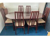 Luxury Extending Dining Table 6 Chairs Mahogany