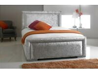 NEW SILVER BUMBER BAR PLUSH VELVET BUTTONED FRAME BED WITH HEADBOARD