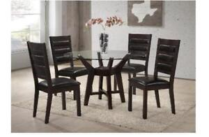 Wooden dining set with Glass Top and 4 Chairs (C2C02)