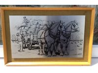 Retro Picture Stainless Steel Etching of Farm Scene