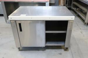 Stainless Steel 4ft Commercial Work Table W/ 2 Shelves + 2 Sliding Doors