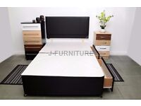 NEW single double KINGSIZE DIVAN BED WITH ALL TYPE OF MATTRESSES IN 3 COLORS