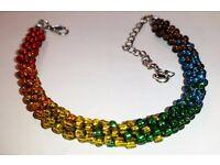 New handmade Kumihimo bracelet, seed bead rainbow with extender. Unisex, unisize LGBT