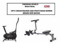 OPTI 2 IN 1 CROSSTRAINER AND PRO FITNESS ROWING MACHINE BULK DEAL BRAND NEW BOXED REDUCED!!!