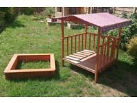 Wooden kids Wendy House with integrated pullout Sand Pit
