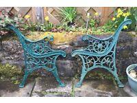 Wrought iron garden bench ends