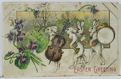 Easter Greetings Rabbit Band Bunnys with Instruments Postcard L3 Holiday Greetings Band