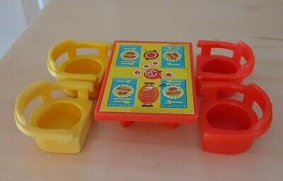Vintage Fisher Price little people red/yellow hotdog table w/4 chairs-Camper 994