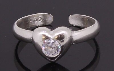Toe Ring  Sterling Silver Heart Shaped Adjustable With Cubic Zirconia