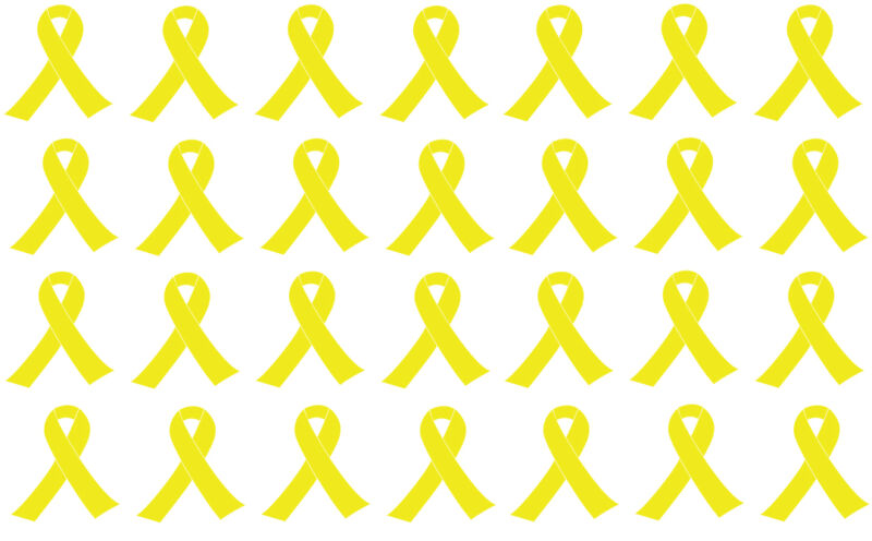 Lot of 28 small yellow ribbon, support our troops, military, decals or stickers.
