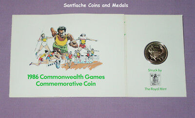 1986 COMMONWEALTH GAMES £2 COIN IN ROYAL MINT DAIRY CREST FOLDER