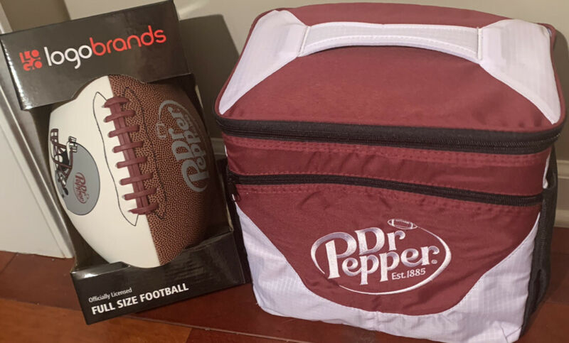 New Dr. Pepper Soda Logo 24 Can Soda Insulated Cooler With Full Size Football
