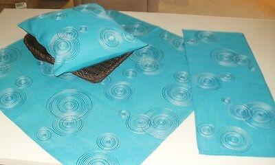 Tischdecke Tischläufer Lugau azur blau türkis Kreise Kissen hülle div. Größen