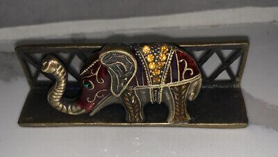 Ornate Metal Elephant Business Card Holder