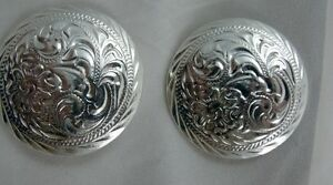Sterling  Silver Easy-on silver saddle-skew  conchos   Pair Time to SHOW-OFF