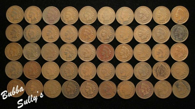 50 Indian Head Cents 1900 to 1909 - 5 of each date (Circulated) SEE DESCR. !