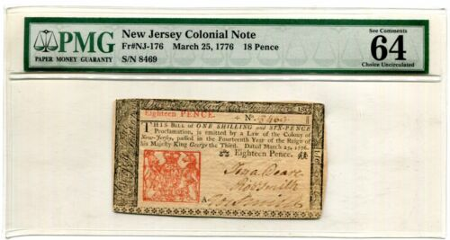 PMG-MS64 EPQ New Jersey 18 Pence Colonial Note March 25, 1776 - Free Shipping