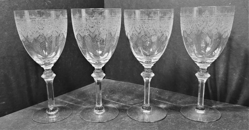 4- Vtg stemmed, crystal, wine glasses. wheel etched. don