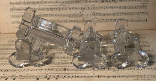 Set of FOUR Vintage PORTIEUX French Clear Glass Flatware Holder, Knife Rest