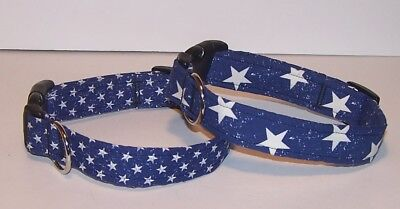 Wet Nose Designs Colorful Simply Stars Dog Collar on Blue Patriotic Star Blue Stars Dog Collars