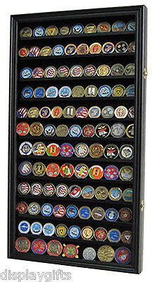 Large 108  Challenge Coin Display Case Cabinet, with Real Glass Door, COIN2-BLA