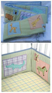 Unisex Embroidered Safari Crib Bedding Package
