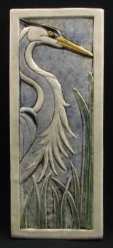 Arts and Crafts Earthsong 5x12 Heron Facing Right Tile