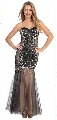 Let's Fashion Prom/Evening two Tone Trumpet Dress w Stone Bead Embellishment -