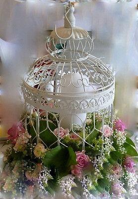 6 LRG WHITE VINTAGE DECORATIVE BIRDCAGES WEDDING BIRD CAGE WEDDING CENTREPIECE