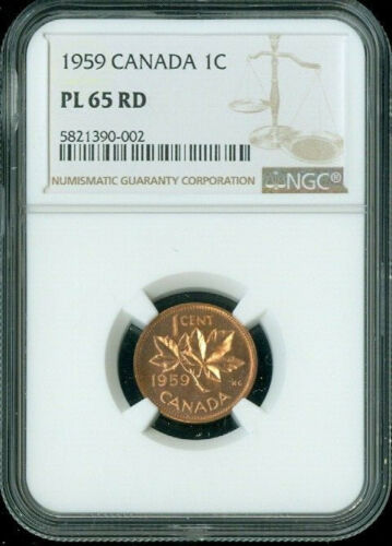 1959 CANADA 1 CENT NGC PL65 RD**
