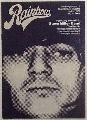 Steve Miller Tim Hardin Concert Programme Rainbow Theatre London Feb 1972