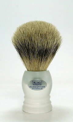 Hans Baier Shaving Brush Badger Hair Silver-Pointed Acrylic Glass Matt Frosted