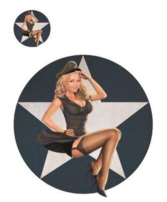 Aufkleber Set Pin Up Girl meldet sich zur Arbeit Reporting for Duty Sticker Helm