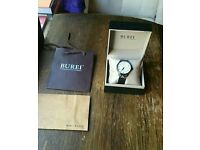 Burei Men's Date Display Quartz Simple Style White Dial Watch Wristwatch with Black Leather Strap