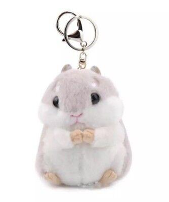 Hamster Plush Stuffed Animal Toy Keychain Gray 3.5