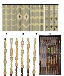 JVL Wooden Bamboo Beaded Fly Screen Door Curtain 90 x180cm ...