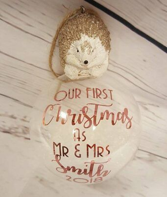 Our First Christmas glass ornament - Mr and Mrs - married couple christmas- Gift ()