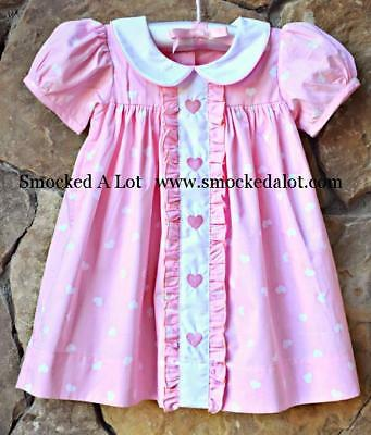Smocked A Lot Girls Valentine's Day Heart Dress Ruffle Collar Pink Hearts](Girls Valentine Dresses)