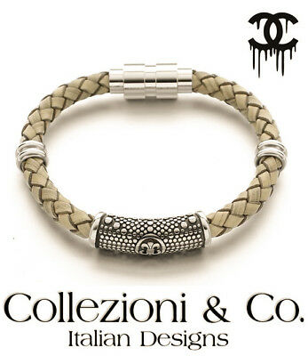 - Mens Stainless Steel Fleur De Lis Leather Braid Natural Taupe Magnetic Bracelet