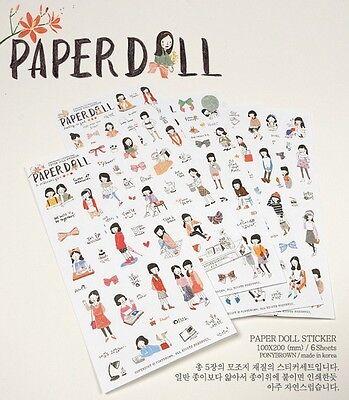 PONYBROWN Paperdoll Kawaii Lovely Cartoon Girl Sticker ...