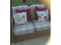 Conservatory wicker Two Seater sofa Laura Ashley Keynes