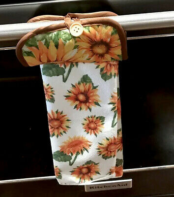 Sunflowers Kitchen Towel Potholder Oven Handle Stove Buttons Decor Fall