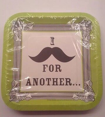 New I Love Mustaches Small Square Paper Plates 15ct Theme Party Made In USA](Mustache Paper Plates)