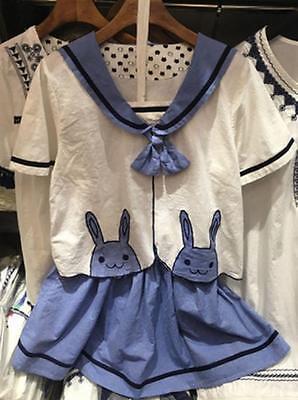 Lolita Kawaii  girls navy tie Cute rabbit embroidery cotton T-shirt tops + Skirt