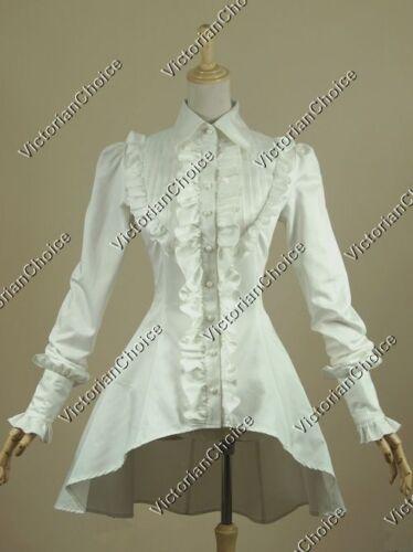 Victorian Steampunk Vintage Gothic White Cotton Blouse Shirt Theater Top B007