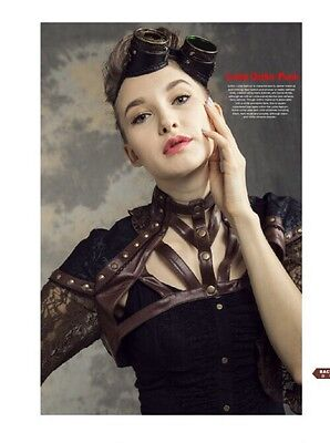 rq-bl steampunk lace jacket brown size xl