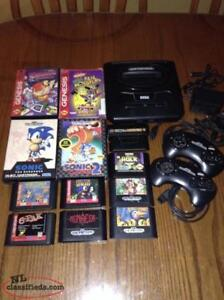 Sega Genesis console and 11 games